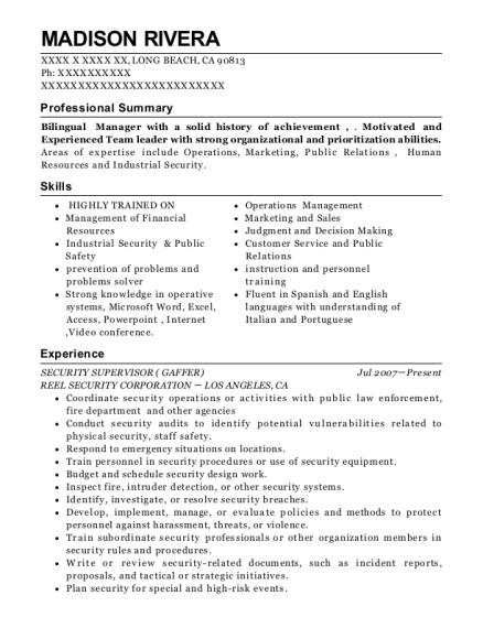 SECURITY SUPERVISOR resume template California