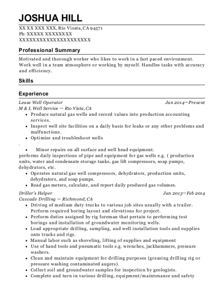 Lease Well Operator resume format California