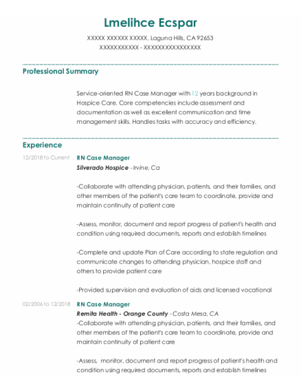 RN case manager resume format California