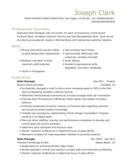 Sales Manager resume format California