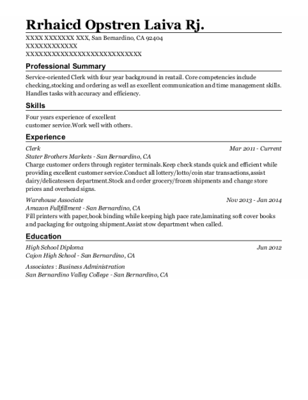 Clerk resume example California