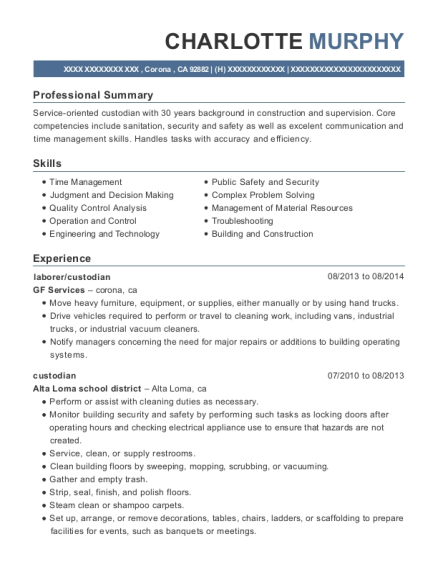 laborer resume sample California