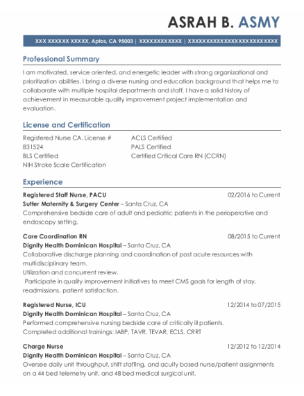 Registered Staff Nurse resume template California