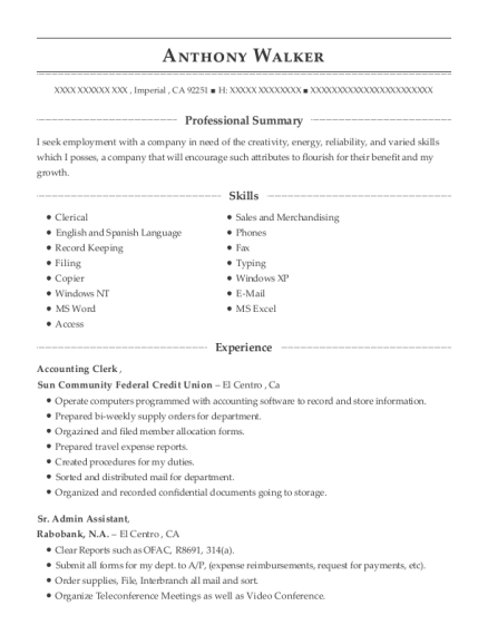 Accounting Clerk resume example California