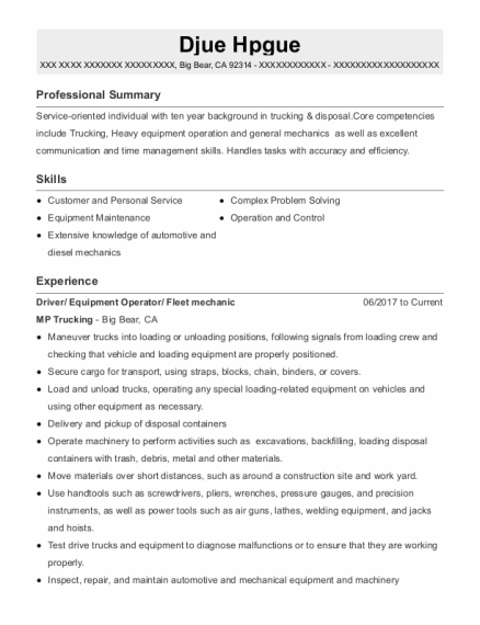 Driver resume sample California