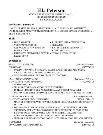 TEMP UTILITY WORKER resume example California