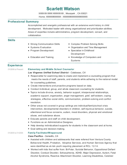 Elementary and Middle School Counselor resume sample California