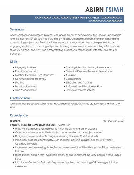 Teacher resume template California