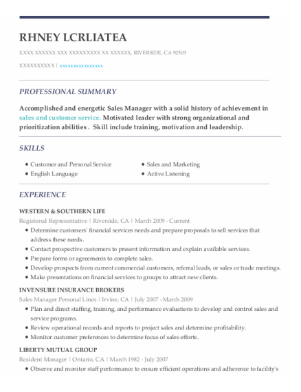 Resident Manager resume example California