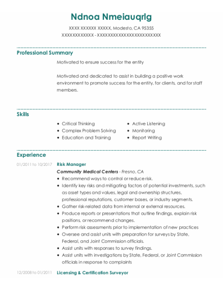 Risk Manager resume template California