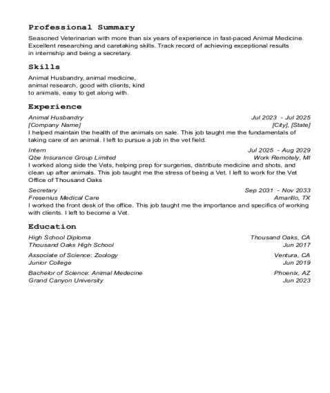 Animal Husbandry resume sample California