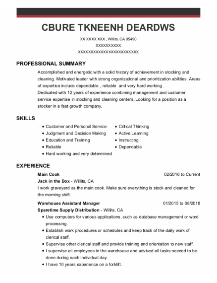 Warehouse Assistant Manager resume template California
