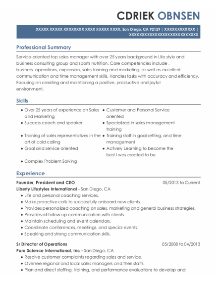 Founder resume sample California