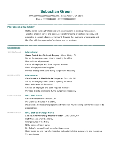 Adminstrator resume example California