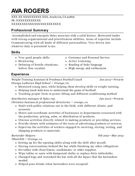 Weight Training Assistant & Freshman Football Coach resume sample California