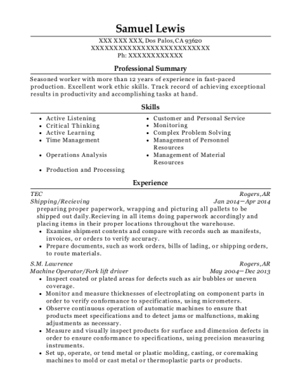 Shipping resume template California