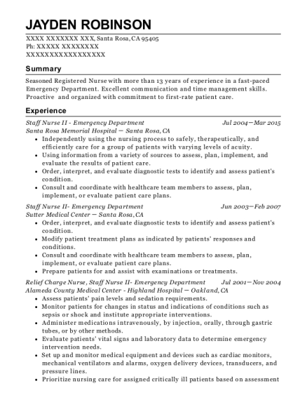 Staff Nurse II Emergency Department resume example California