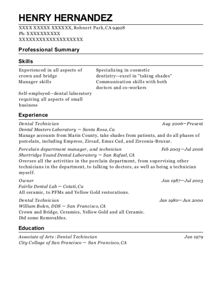 Dental Technician resume format California