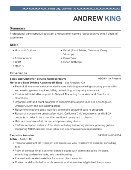 Sales and Customer Service Representative resume format California