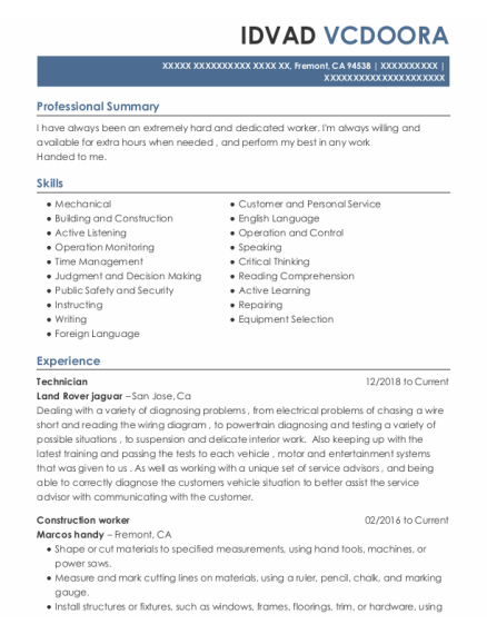 Construction Worker resume format California