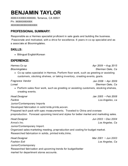 Hermes Co op resume example California