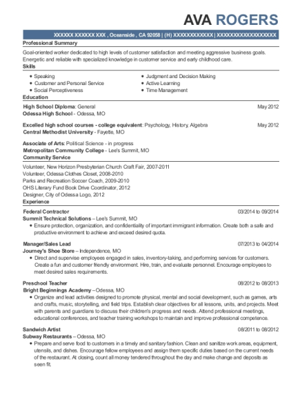 Federal Contractor resume template California
