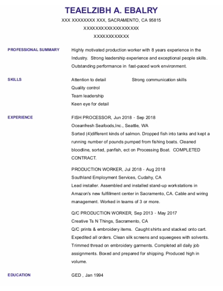 Fish Processor resume format California