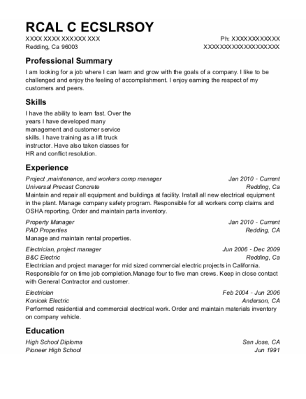 Project resume template California