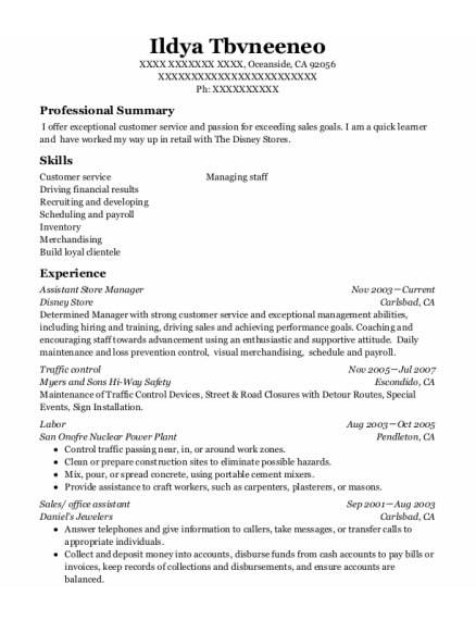 Assistant Store Manager resume template California