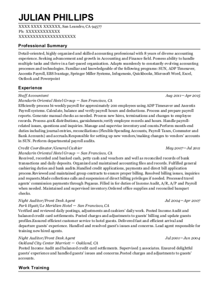 Staff Accountant resume template California