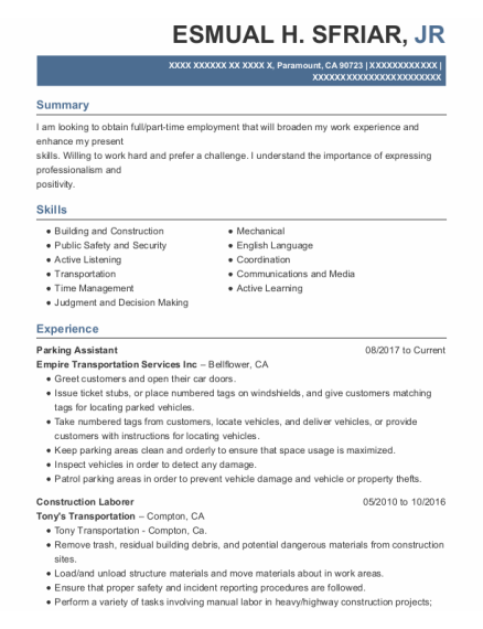 Construction Laborer resume format California