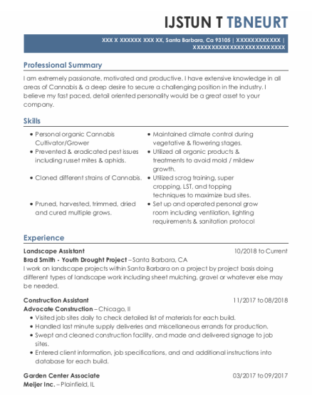 Landscape Assistant resume template California