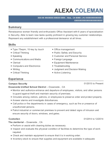 Campus Security resume sample California