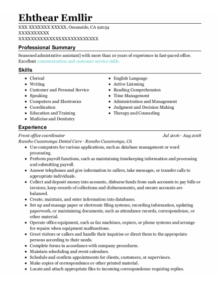 Front Office Manager resume example California