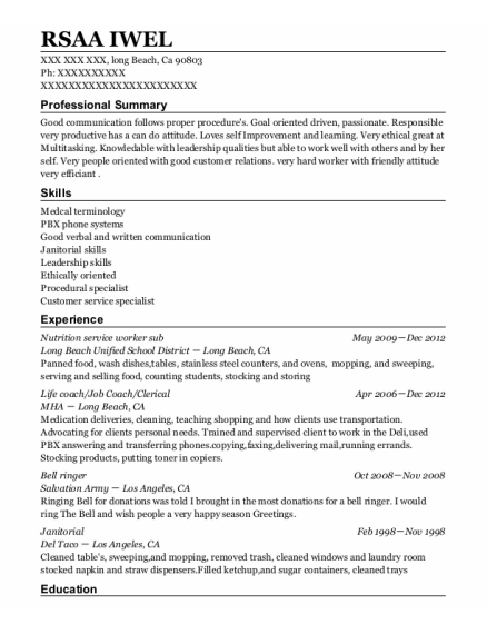 Life Coach resume sample California