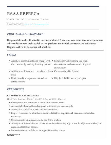 Host resume example California
