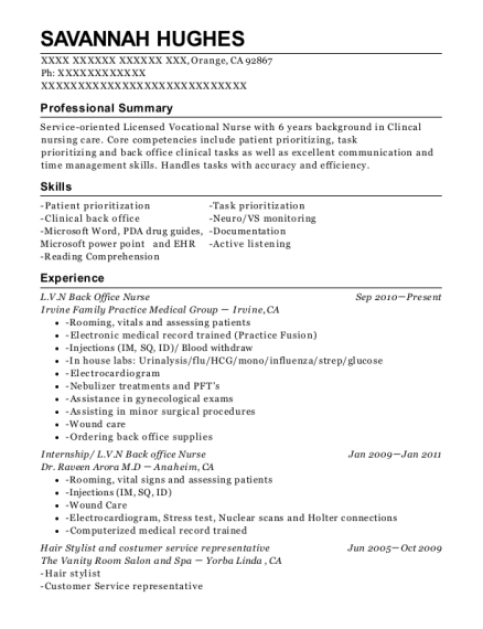 LVN Back Office Nurse resume sample California