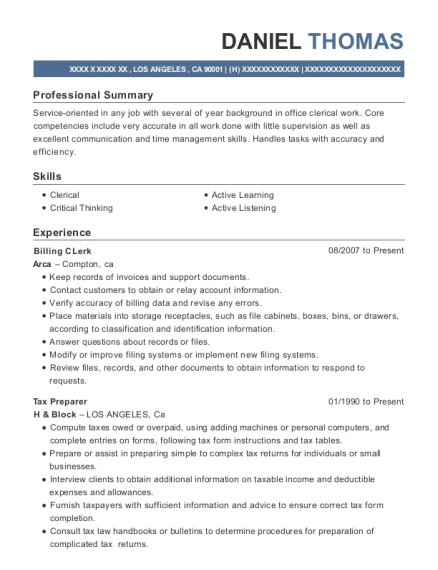 Billing CLerk resume example California