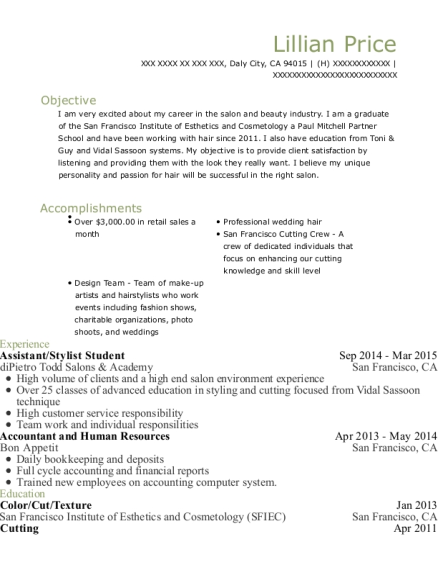 Assistant resume template California