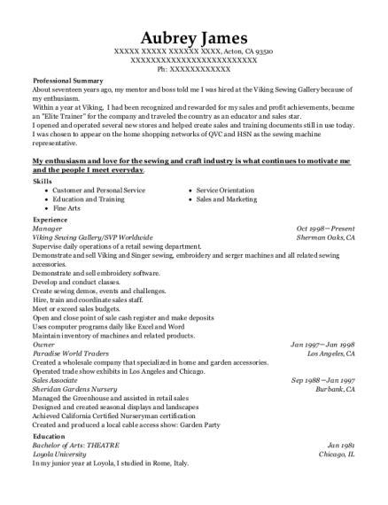 Manager resume sample California