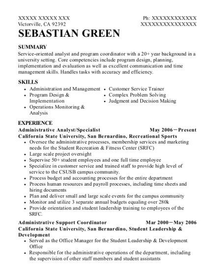Administrative Analyst resume example California