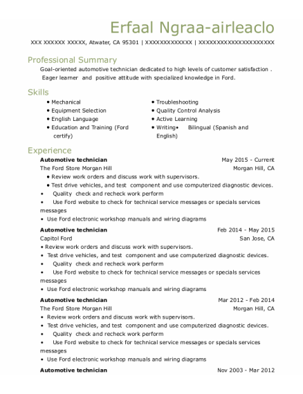 Automotive Technician resume sample California