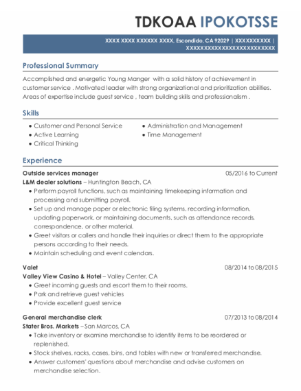 Valet resume example California