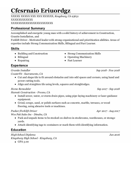 Granite Installer resume example California