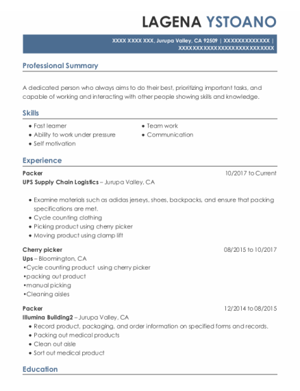 Packer resume sample California