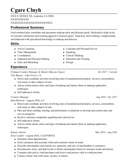 Counter Manager resume example California