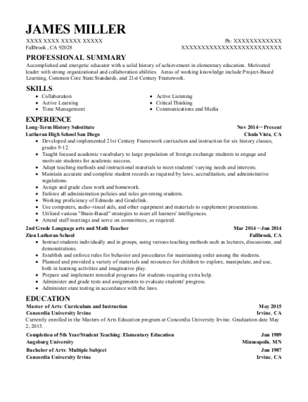 Long Term History Substitute resume example California