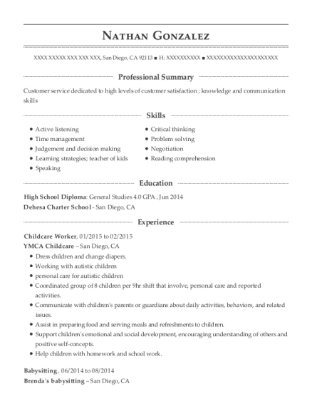 Childcare Worker resume sample California