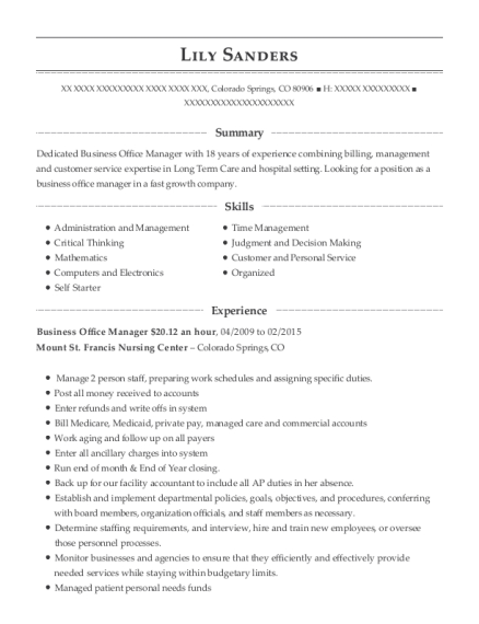 Business Office Manager 2012 an hour resume format Colorado