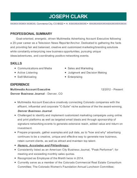 Multimedia Account Executive resume format Colorado
